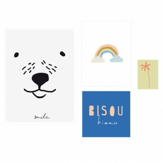 Affiche Bisous - Lot de 4