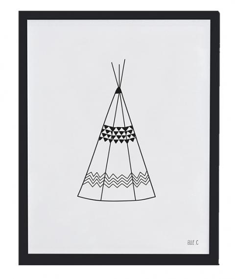 affiche encadr e teepee lilipinso noir et blanc file dans ta chambre. Black Bedroom Furniture Sets. Home Design Ideas