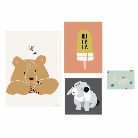 Affiche Happy - Lot de 4