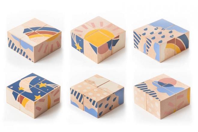 Cubes en bois Weather