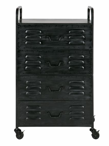 caisson roulettes vintage m tal nordic factory noir. Black Bedroom Furniture Sets. Home Design Ideas