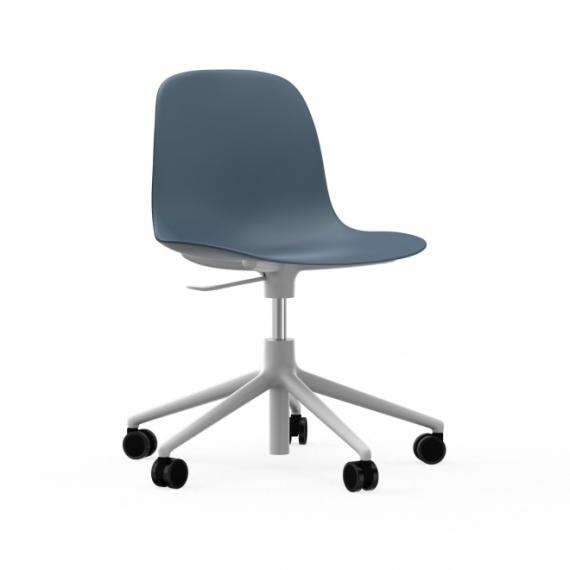 Chaise de bureau à roulettes Form Alu blanc