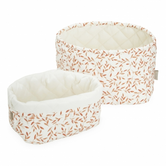 Corbeille de rangement Caramel Leaves - Lot de 2