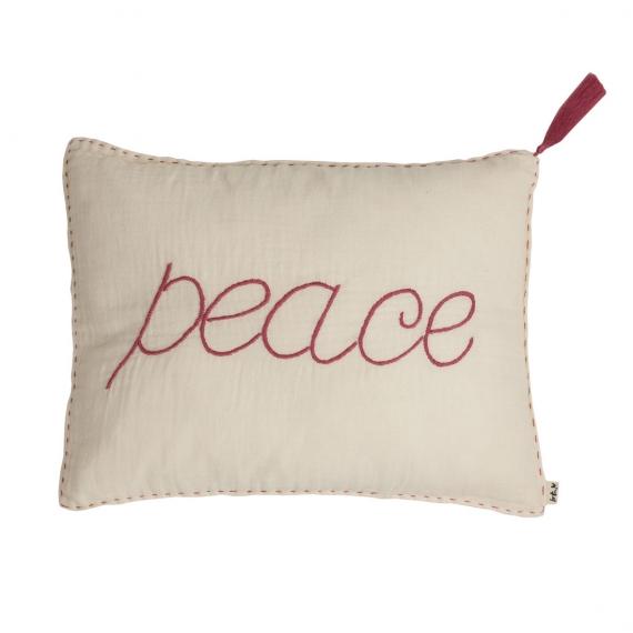 Coussin brodé Peace