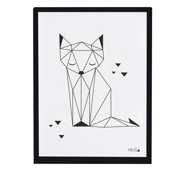 Affiche encadrée Renard Origami Fox