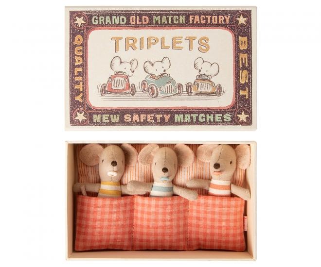Doudous souris Bébés Triplés dans leur boîte