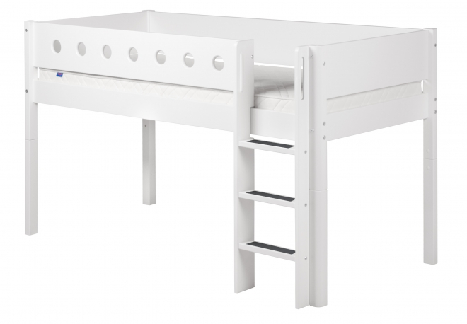 lit mezzanine volutif mi hauteur white 90x190 flexa file dans ta chambre. Black Bedroom Furniture Sets. Home Design Ideas