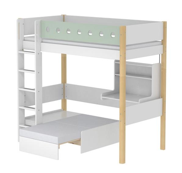 lit mezzanine volutif casa white 90x190 flexa naturel mint file dans ta chambre. Black Bedroom Furniture Sets. Home Design Ideas