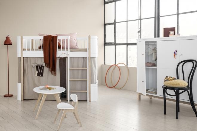 Lit mezzanine mi-hauteur Wood Mini +