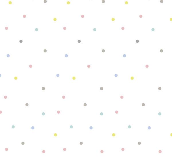 Lé de Papier Peint Pois Multicolores