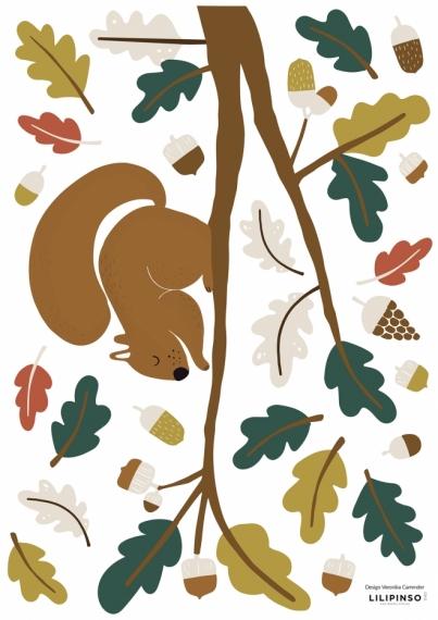 Planche de stickers Ecureuil et feuilles vertes
