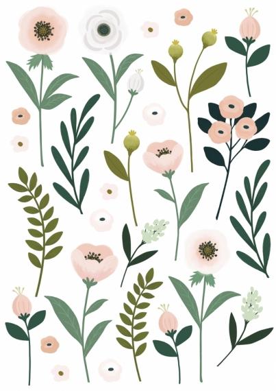 Planche de stickers Fleurs et feuillage