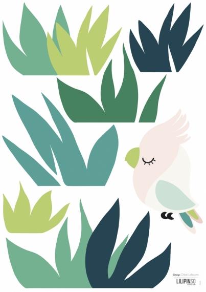 Planche de Stickers Herbe & Petit Oiseau