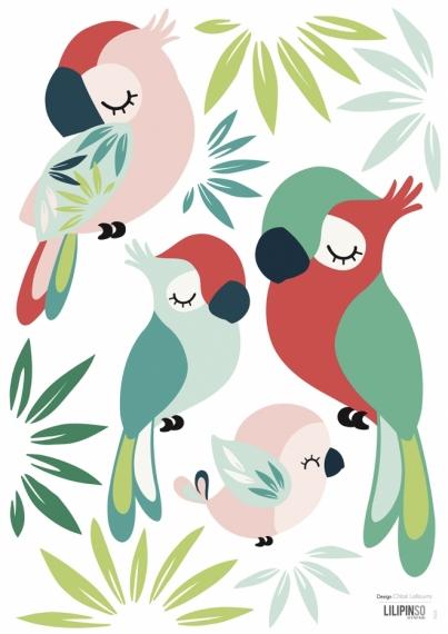 Planche de Stickers Perroquet