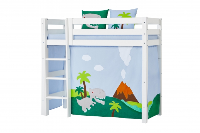 rideau de lit mezzanine mi hauteur dinosaure basic 70x160 hoppekids file dans ta chambre. Black Bedroom Furniture Sets. Home Design Ideas