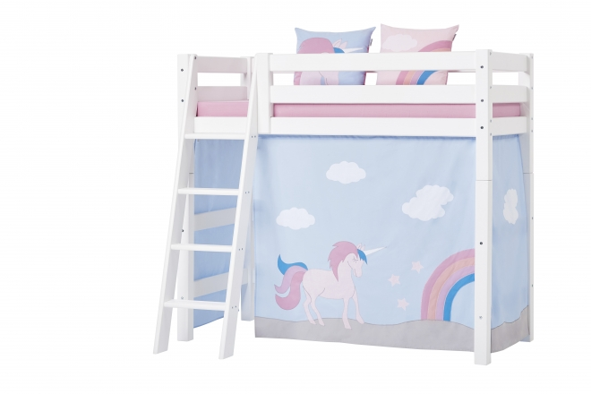 rideau de lit mezzanine mi hauteur licorne basic 70x160 hoppekids file dans ta chambre. Black Bedroom Furniture Sets. Home Design Ideas