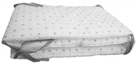Tour de lit etoiles grises 70x140 luciole et cie file - Tour de lit bebe 70x140 ...