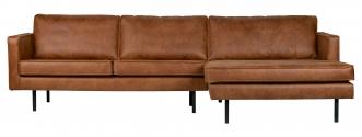 Canapé d'angle Eugène méridienne droite cuir recyc
