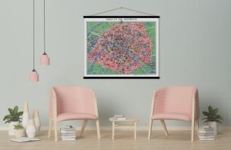 Carte vintage Paris et ses Monuments