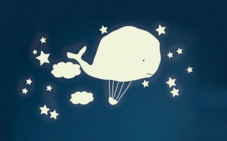 Sticker Phosphorescent Baleine Montgolfière