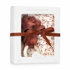 Coffret cadeau Lange et hochet Paon Caramel Leaves