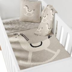 Coussin tricoté Cheval à bascule Rocking Horse