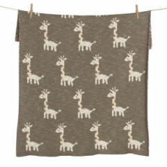 Couverture Tricot On the Go 65x80 Girafe