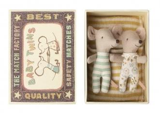 Doudou souris Bébés Jumeaux dans leur boîte