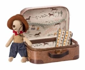 Doudou souris Cowboy dans sa valise