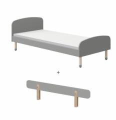 Lit Enfant 90x200 Dots pieds en frêne + barrière de lit
