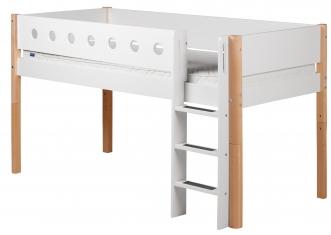 Lit mezzanine évolutif mi-hauteur White 90x200