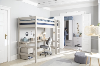 Lit mezzanine évolutif Classic 184 90x190 + bureau