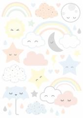 Planche de stickers Nuages et étoiles