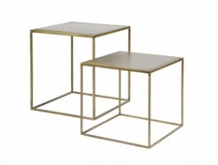 Table basse Brass Metal - Lot de 2
