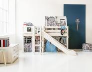 Lit mi-hauteur évolutif Classic 90x190 + toboggan