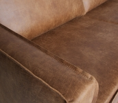 Canapé d'angle droit Eugène cuir recyclé