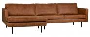 Canapé d'angle Eugène méridienne gauche cuir recyc