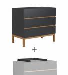 Commode 3 tiroirs Indigo + plan à langer