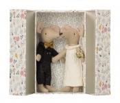 Doudou souris Couple de Mariés dans leur boîte