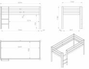 Lit mezzanine mi-hauteur Wild + rangements